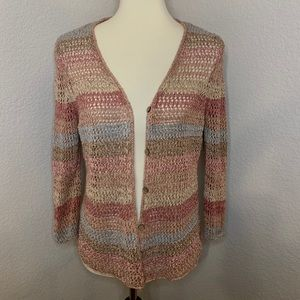 J.Jill Knitted Cardigan Multi-Colored (Size: M)